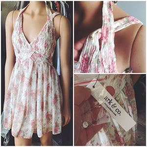 Ark & Co. Floral Pleated Bodice Double Strap Dress
